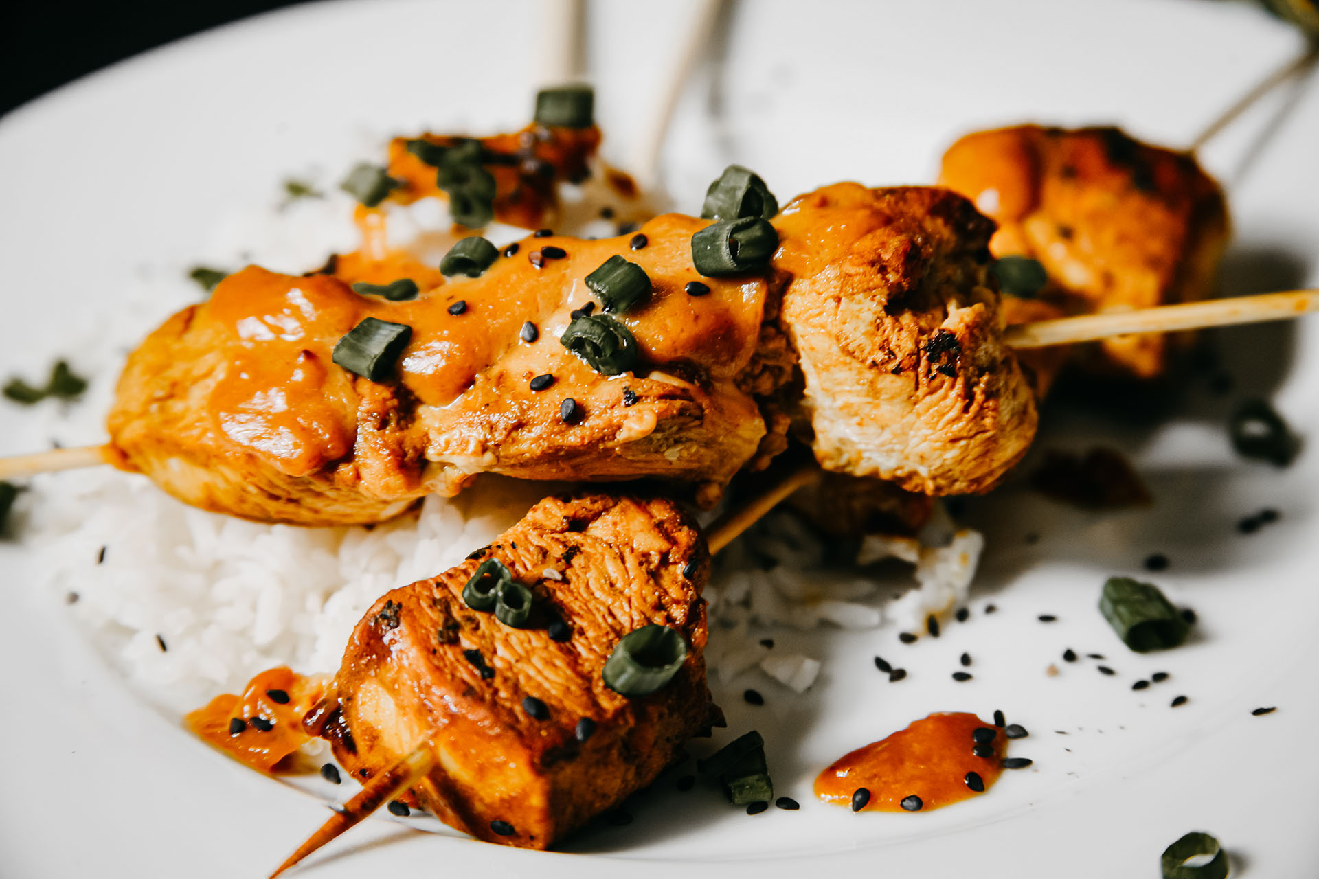 Bone Suckin' Chicken Skewers with Peanut Sauce
