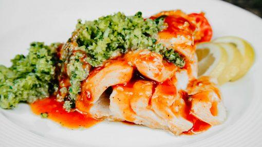 Bone Suckin' Cod & Zucchini Salsa Verde