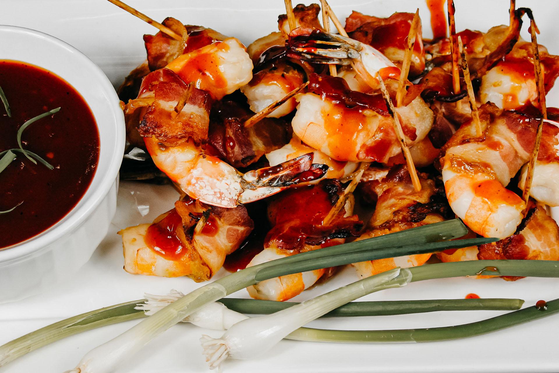 Bone Suckin' Bacon Wrapped Shrimp