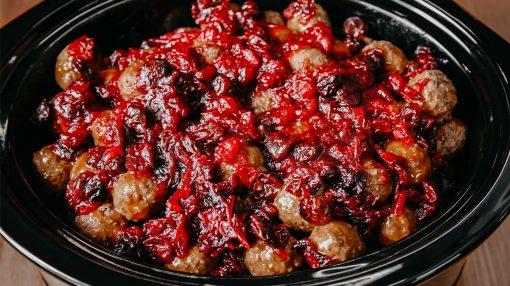 Bone Suckin' Cran-Cherry Meatballs
