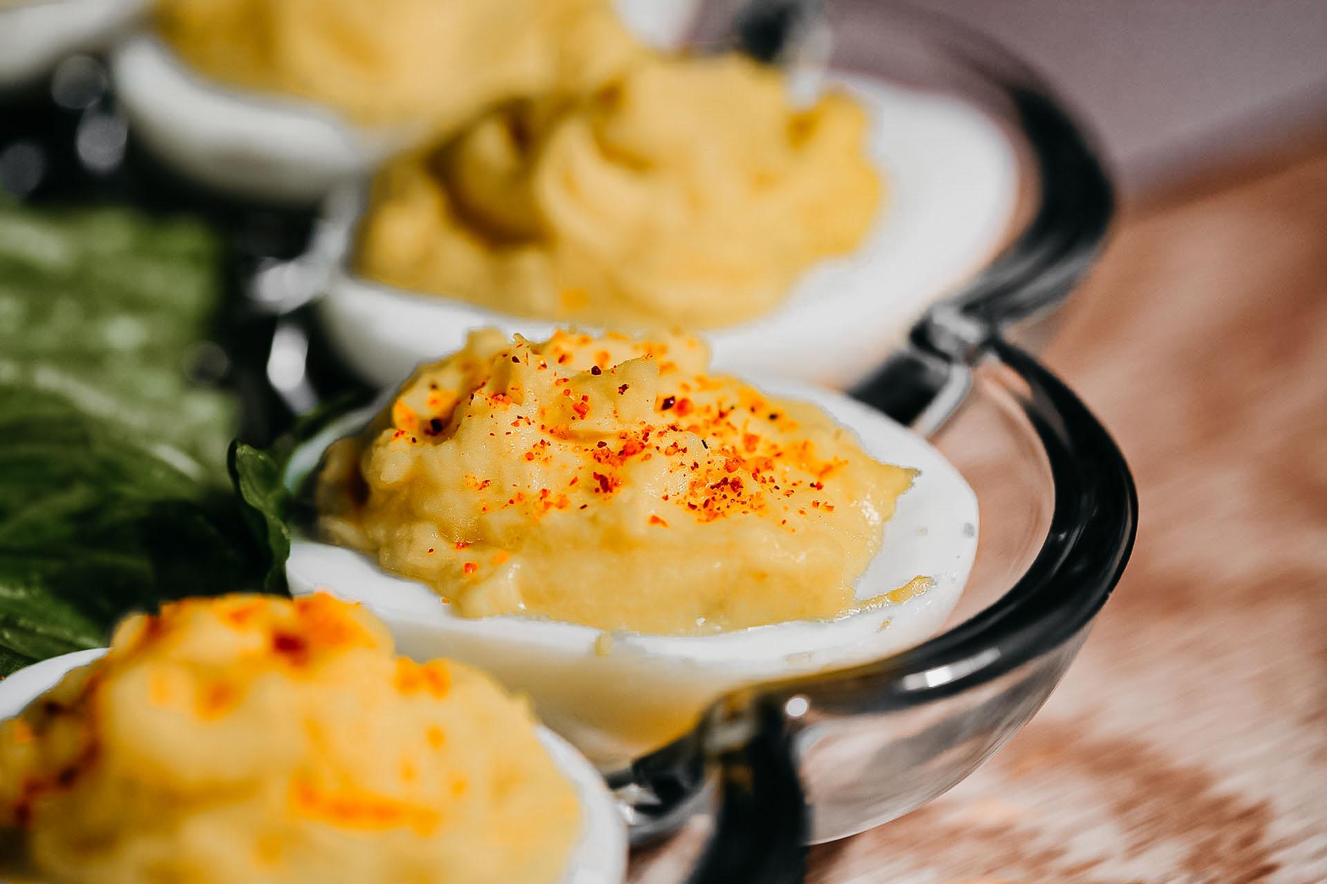 Bone Suckin' Mustard Deviled Eggs