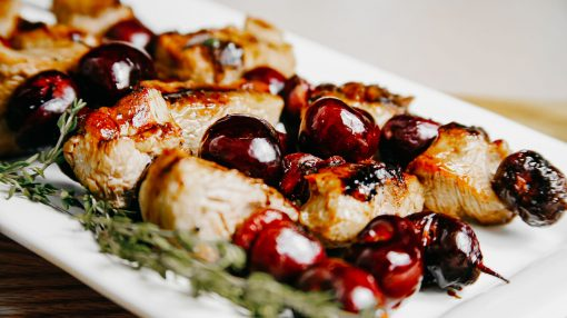 Bone Suckin' Pork and Cherry Skewers