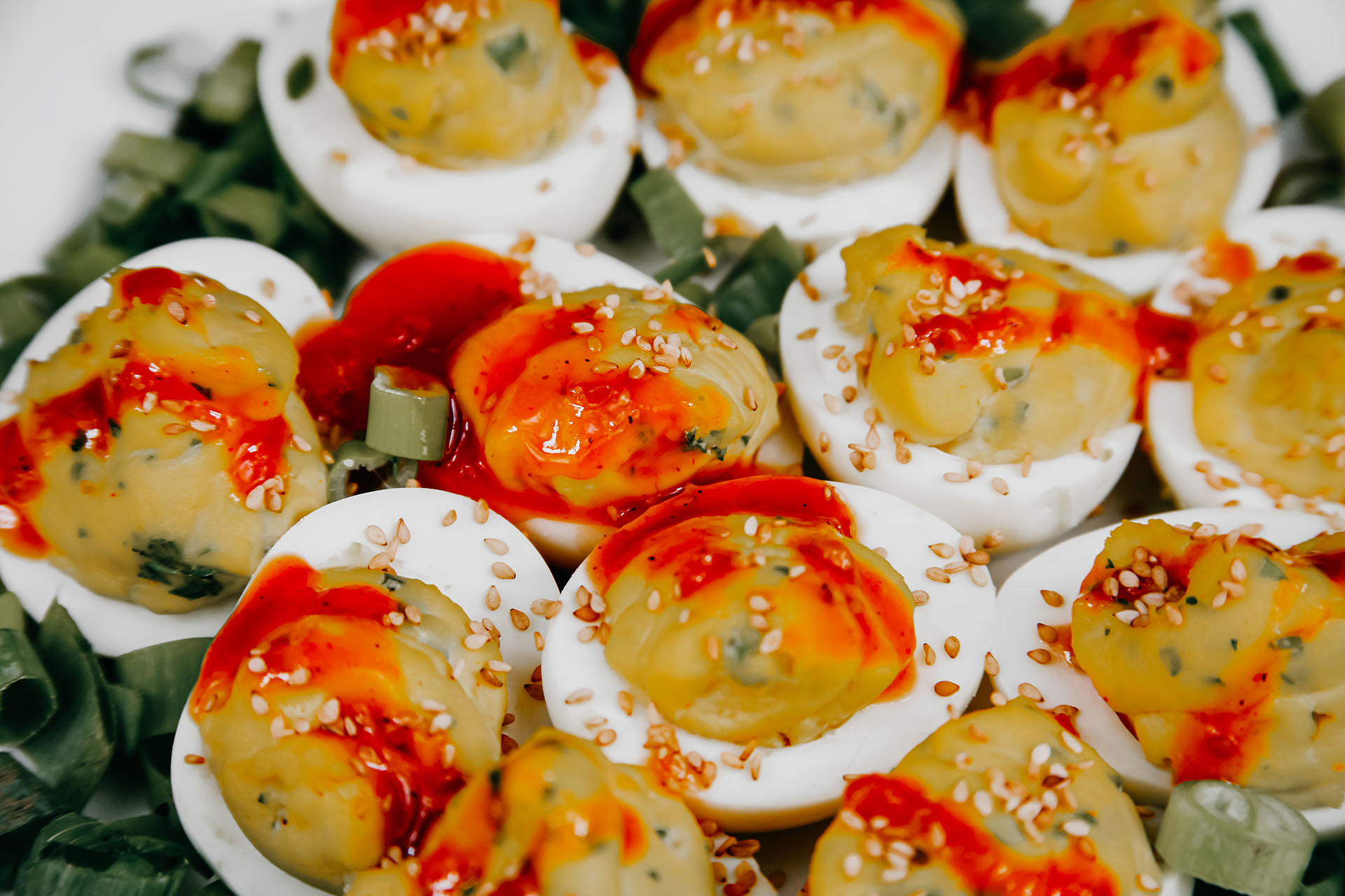 Bone Suckin' Spicy Deviled Eggs