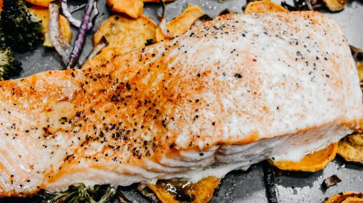 Bone Suckin' Roasted Salmon, Potatoes, and Broccoli